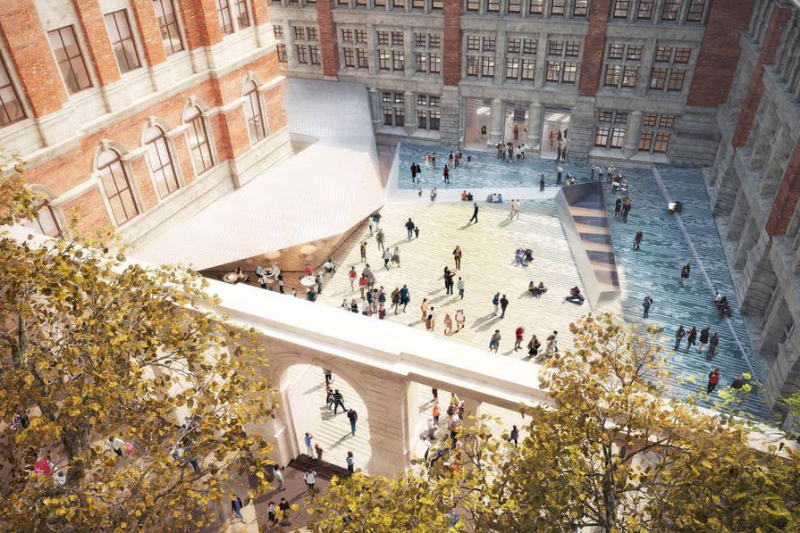 The scheme for the Victoria and Albert Museum addition in London is a permeable outdoor room inviting casual appropriation by the public, and a below-ground gallery space.