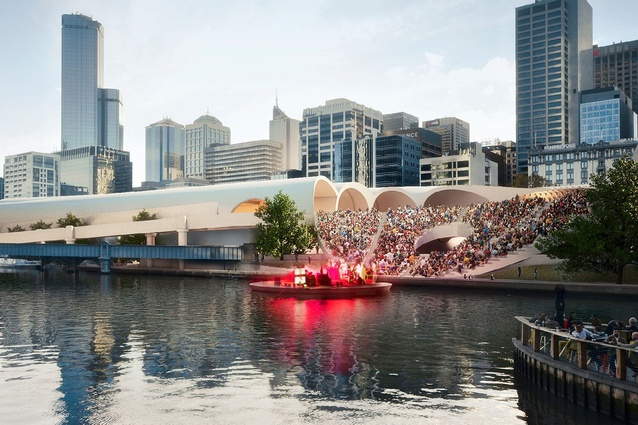 Hassell + Herzog & de Meuron: Yarra River amphitheatre and plaza.