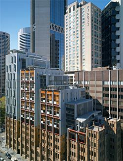 """Oblique view of the striking York Street elevation. The stepped form responds to the City of Sydney's receding height plane, with a series of """"sky follies"""" meandering above and between the towers."""