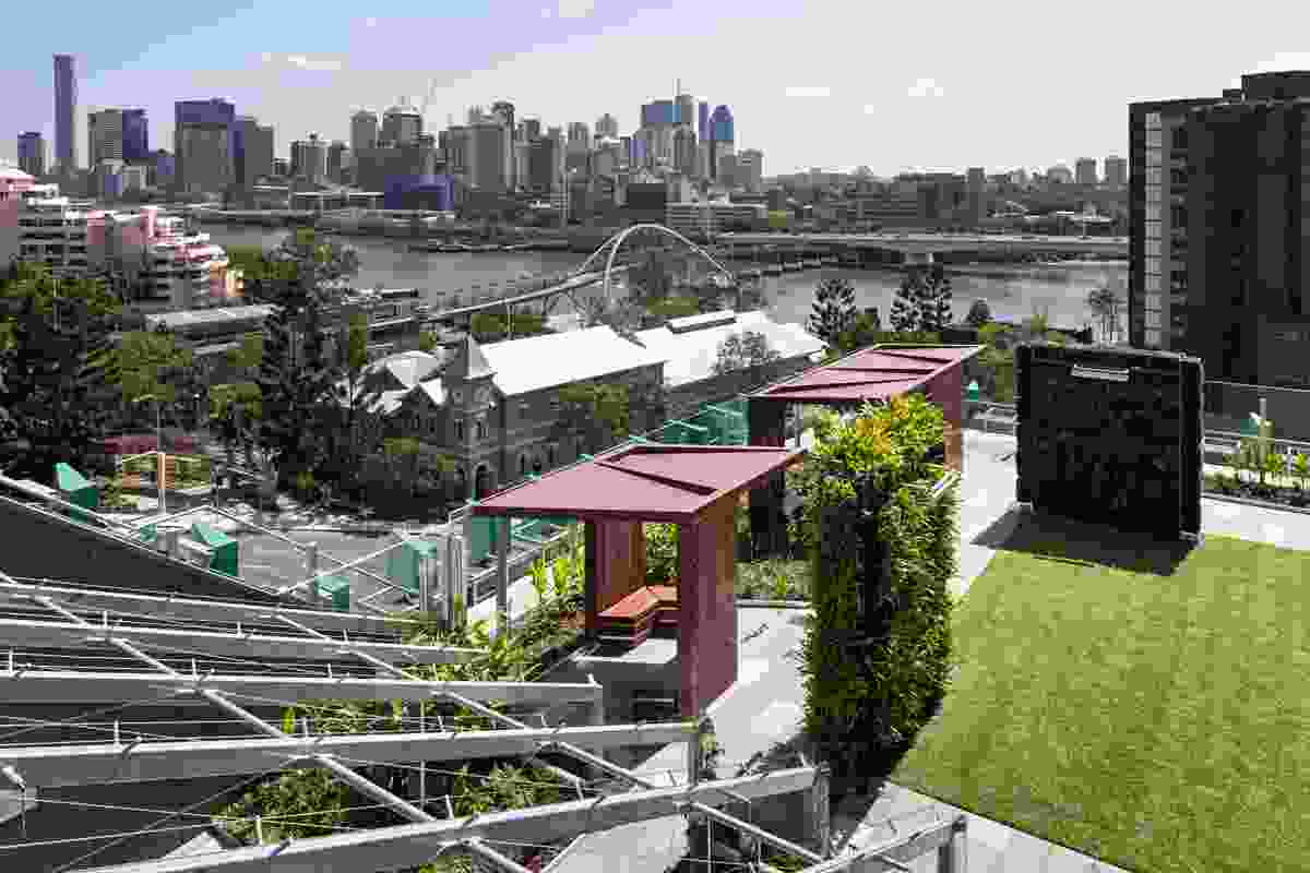 "Grassed areas in the Lady Cilento Children's Hospital ""secret garden,"" with views to the Brisbane River and CBD."