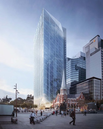 The proposed mixed-use tower at the corner of Turbot and Alfred Streets in the Brisbane CBD by Guida Moseley Brown Architects.