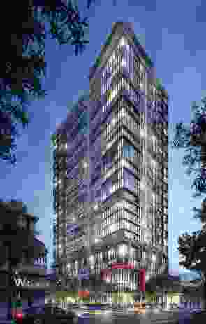 The tower is 24 levels high and will contain 300 apartments, with each featuring a unique enclosed balcony design.