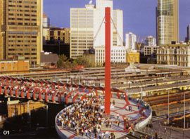 Overview showing the first public event on the Bourke Street pedestrian bridge, by Wood Marsh. Photograph Mike Leonard.