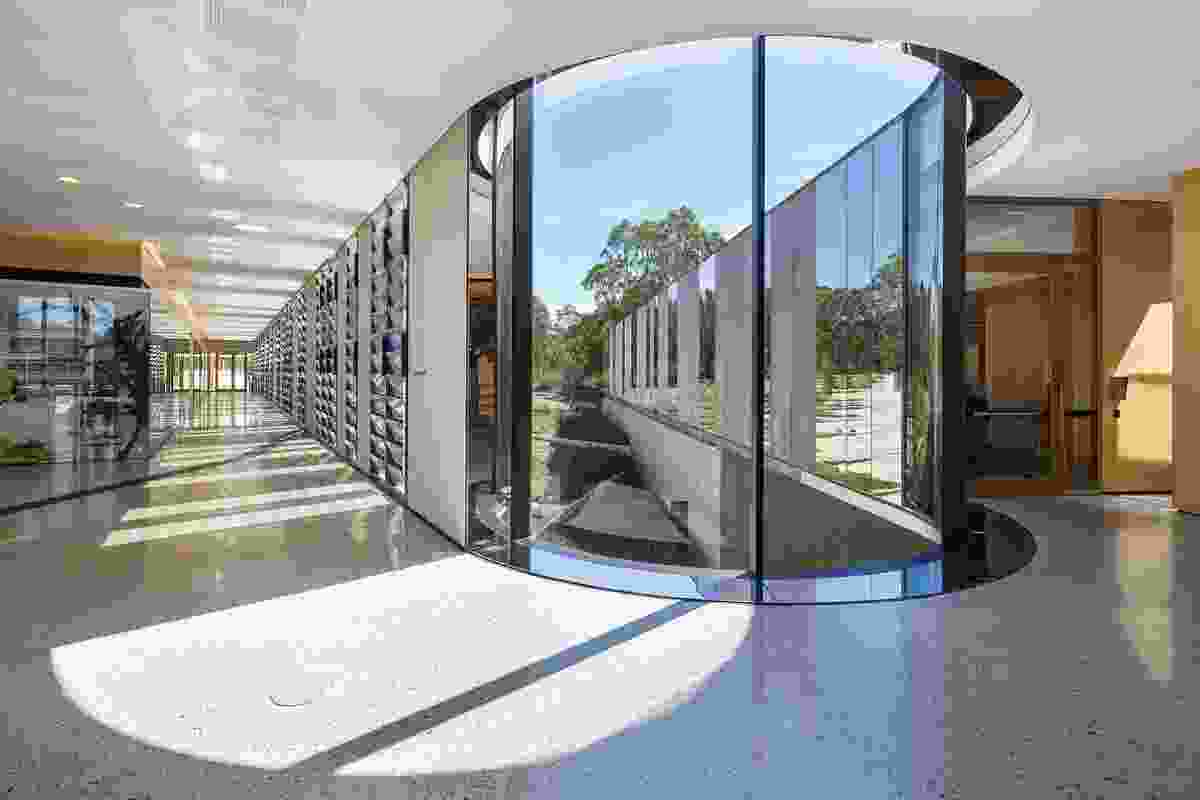 The walkway past the laboratories offers views into the research areas and out onto the nursery below.