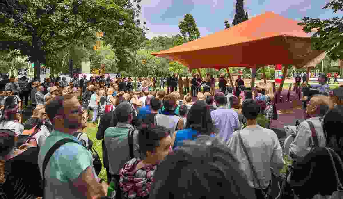 Australian pavilion commissioner Janet Holmes a Court opening Augmented Australia.