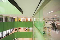 Laboratories opening onto the atrium.