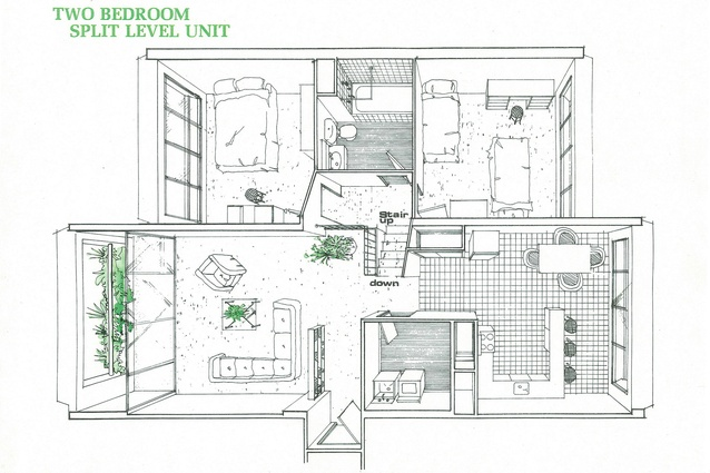 A plan for a two-bedroom, split-level unit in Sirius.