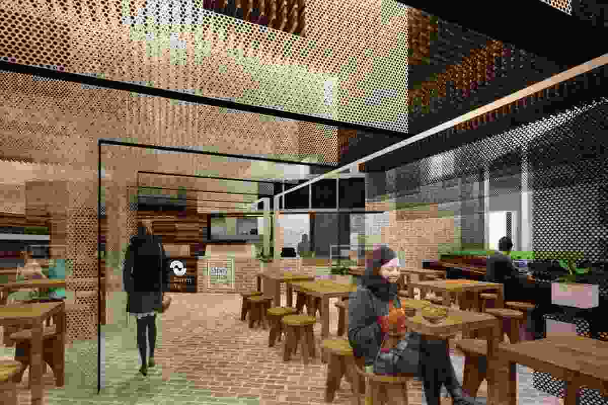 Concept drawing by LOK Studio of a restaurant fitout MODO is collaborating on Weian Lim and Kitinan Kietgumjorn.