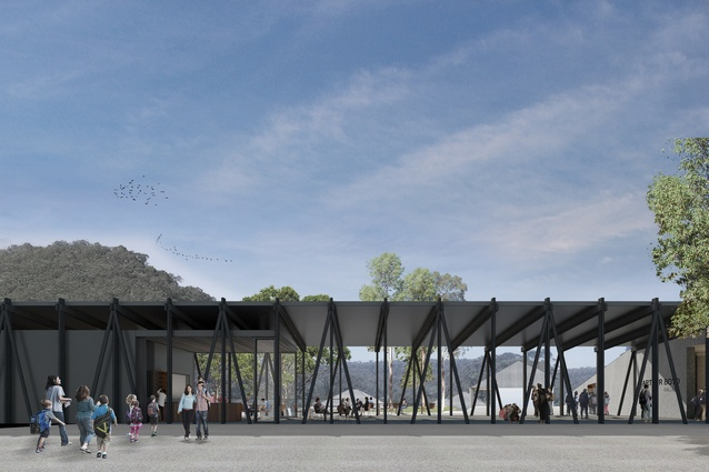 The arrival hall of the Riversdale expansion project designed by Kerstin Thompson Architects.