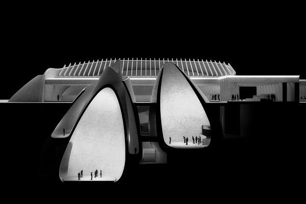 A visualisation of Jørn Utzon's unbuilt Silkeborg Museum (1964), produced for an exhibition titled Fatamorgana – Utzon meets Jørn at the Utzon Center in 2016.