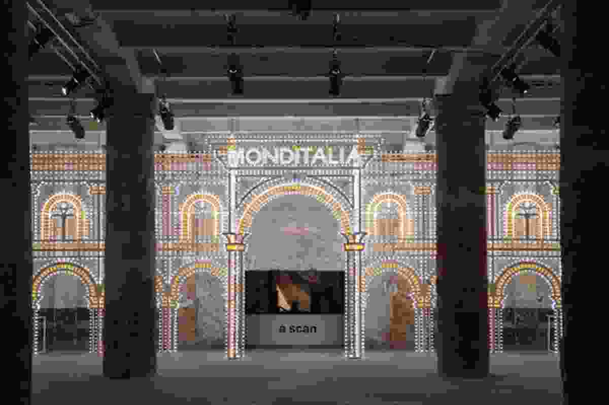 Luminaire is a collaboration between OMA (Rem Koolhaas) and Swarovski. This dazzling 6 x 20-metre archway at the entrance to Monditalia is illuminated with thousands of coloured light bulbs and 15 kilograms of Swarovski Crystal Rocks.