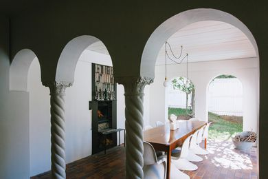 A new hearth and raised ceiling make the existing hacienda all the more central to family life. Image: Natalie McComas.