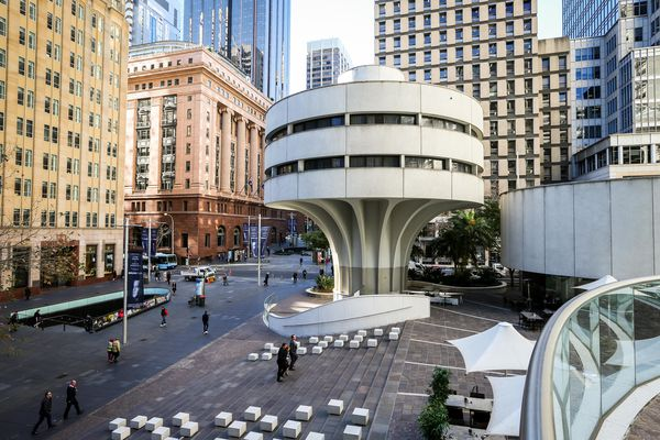 The Commercial Travellers Association Club building on the corner of the MLC Centre plaza, designed by Harry Seidler.