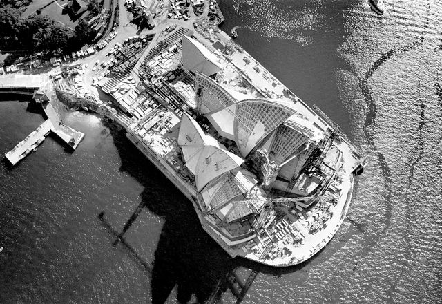 Aerial view of the Sydney Opera House under construction, 1966.