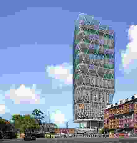 Atlassian's Sydney headquarters tower by Shop Architects and BVN will be built using a hybrid timber construction method.