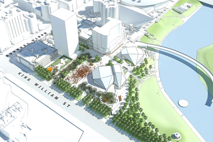 Proposed redevelopment plans for the Adelaide Festival Plaza by ARM and Taylor Cullity Lethlean.