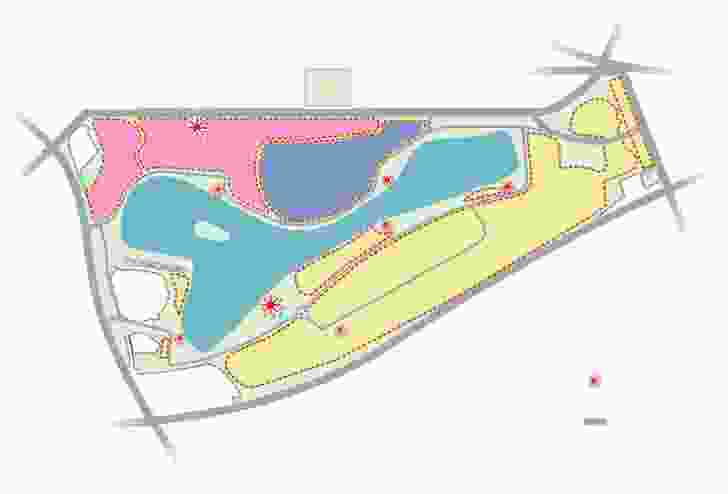 Map from the Albert Park masterplan demonstrating proposed changes. The pink sections indicate the proposed Eastern Woodland and events spaces; the purple section indicates the reduced golf course.