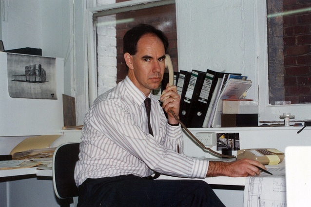 Steve Ashton at ARM's Leicester Street office, Melbourne (1988).