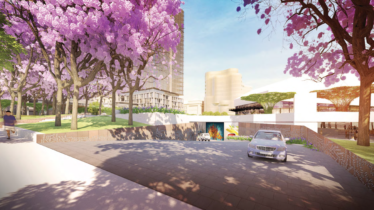 Festival Drive in the proposed redevelopment of Adelaide Festival Plaza designed by ARM Architecture and Taylor Cullity Lethlean.