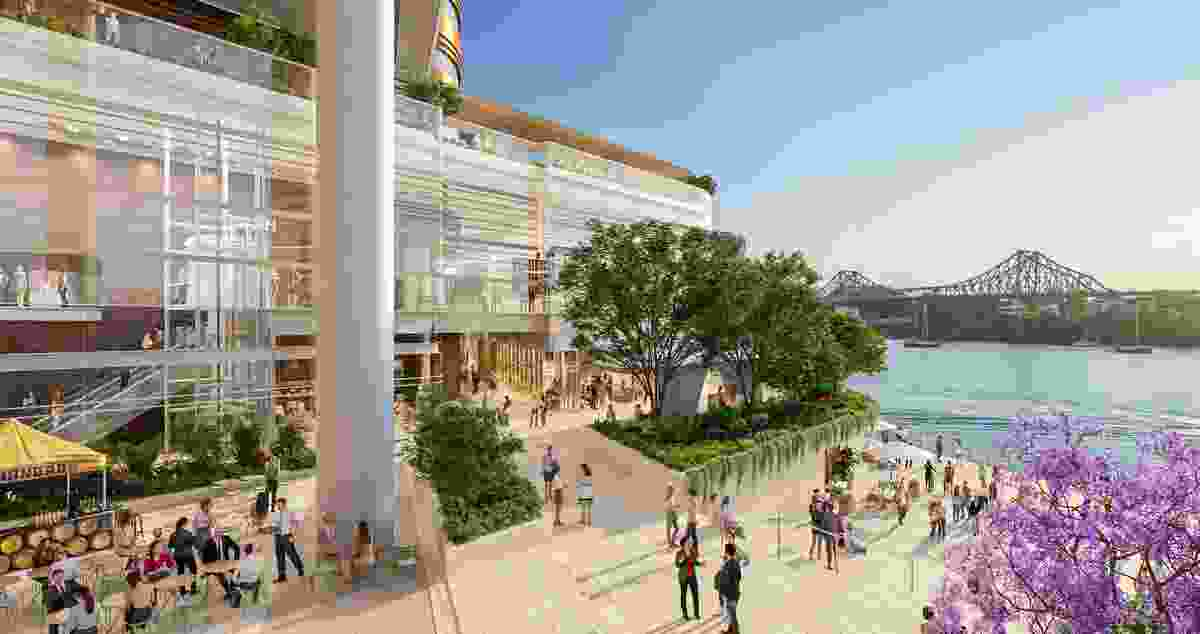 Waterfront Brisbane by FJMT and Arkhefield. The view across Market Steps towards elevated river lobby.