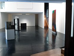 Overview of the exhibition space, showing four of the installation pieces.