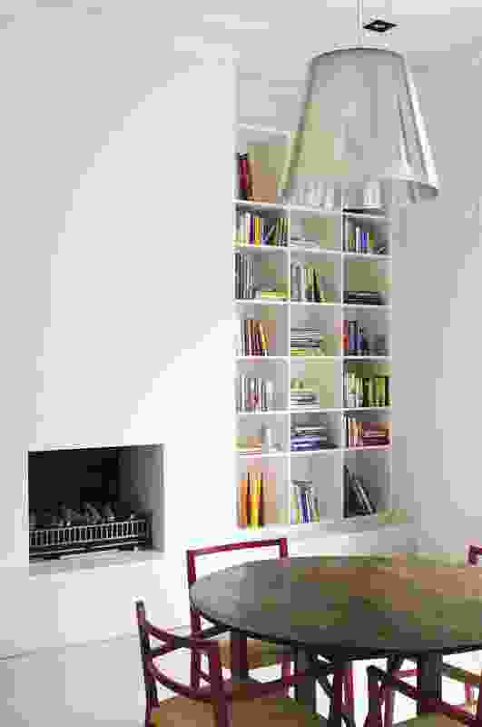 The library is housed within the old portion  of the house and adjoins the formal lounge.