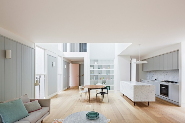 The modest scale of the House in Double Bay and the compactness of the plan are compensated for by the generous light well in the living space.