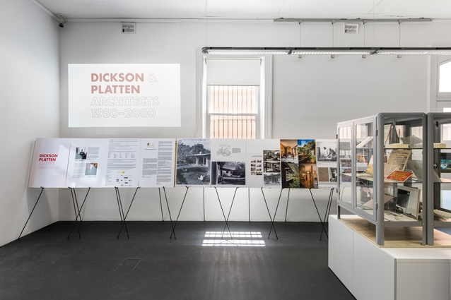 Exhibition stands at <i>Dickson and Platten Architects: 1950-2000</i>.