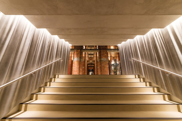 The stairs leading into the Galleries of Remembrance from the Education Centre.