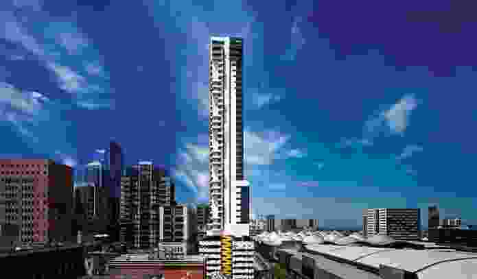 The Neo200 building in Melbourne, which contained combustible cladding, caught fire in February.