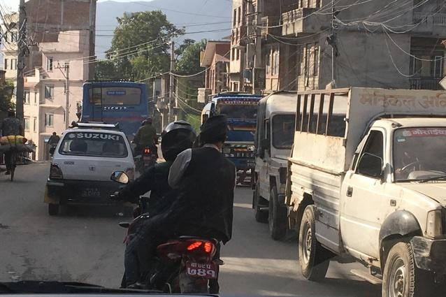 The chaotic streets of Kathmandu.