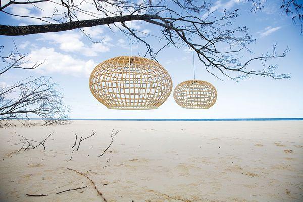 The Bonita pendant lamp handmade from cane.