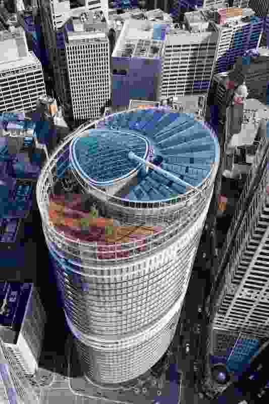 Aerial view of 1 Bligh Street by Architectus and Ingenhoven Architects.