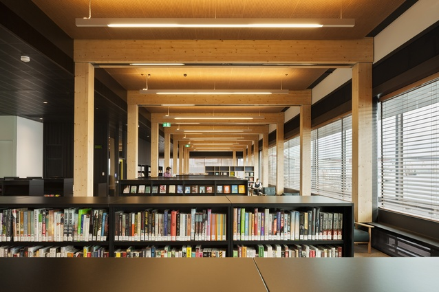 The library is a simple construction made from Cross Laminated Timber (CLT) portal frames.
