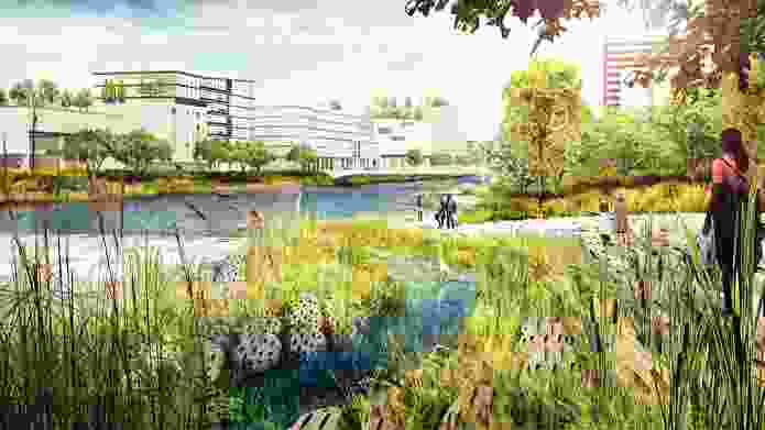The South Bay Sponge proposal by The Field Operations Team (led by James Corner Field Operations) for the Resilient By Design initiative swaps denser inland development in San Francisco's Bay Area for a new resilient shoreline with wetlands that function as flood protection.