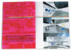 "Opening spread from       Architecture Australia, January/February, 1994. The year's winner, Port Adelaide Housing, by Michael Markham and Abbie Galvin, described by juror Ian McDougall as ""alternative concepts for living to those sponsored by the ignorant real estate industry""."
