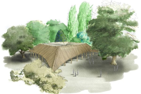 A sketch of the Studio Mumbai-designed MPavilion in its new location in Melbourne Zoo.