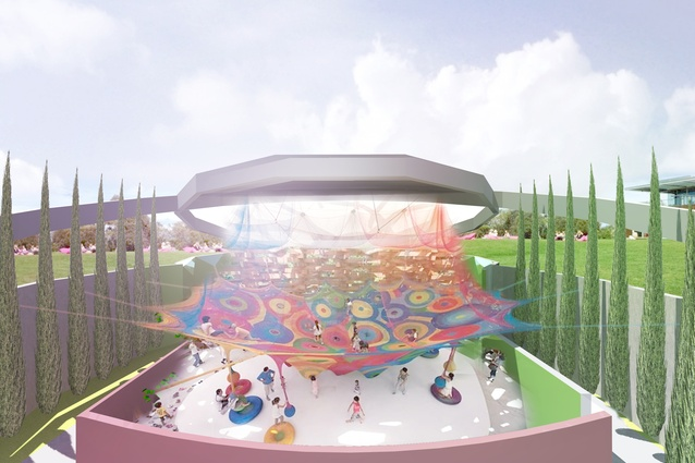 A playground at the MONA Hotel, HOMO, designed by Fender Katsalidis Architects.