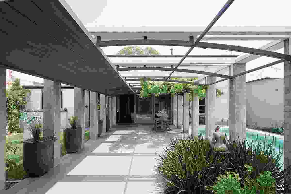 The courtyard is a trilogy of tranquil spaces.
