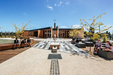 The Our Lady of the Southern Cross Chapel, shared by two schools in Berwick, Victoria, features a radial plan anchored by a ten-metre-high cross tower.