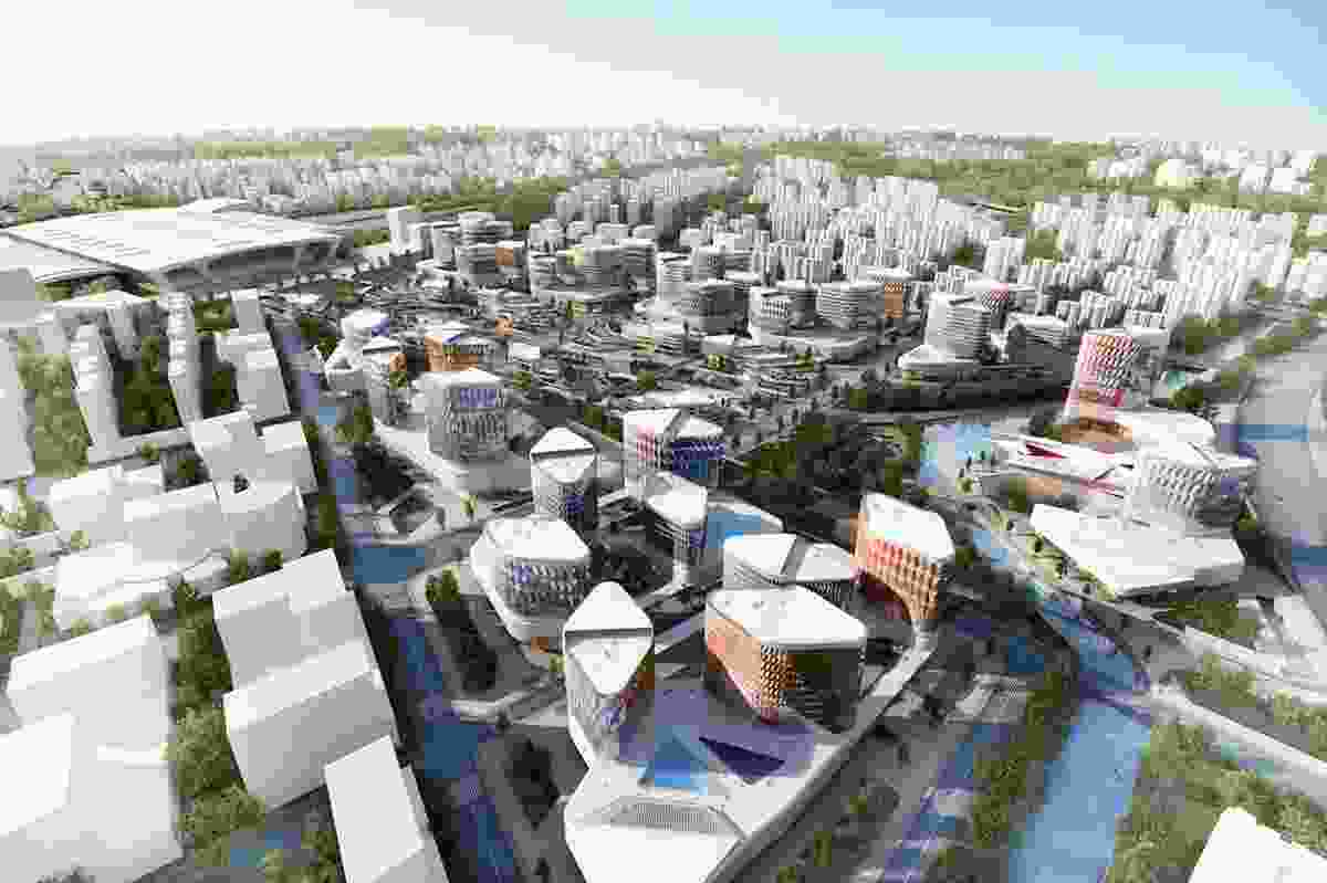 Aerial rendering of masterplan for China's new Hangzhou district.