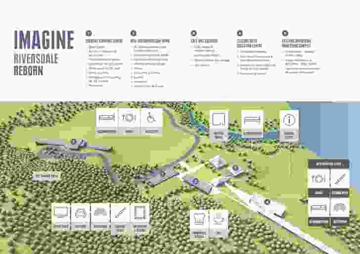 The Riversdale masterplan, prepared by Tonkin Zulaikha Greer, showing proposed new buildings in dark grey.