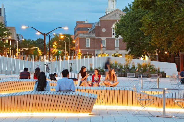 Custom-designed benches at the Science Center Plaza at Harvard University by Stoss accommodate people's bodies in various ways.