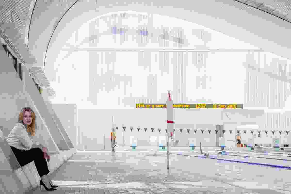 Anna Funder at Ian Thorpe Aquatic Centre designed by Harry Seidler & Associates, Sydney, NSW, 2015.