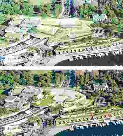 Above: the original competition winning design for the Sydney Modern Project by SANAA. Below: the revised design.
