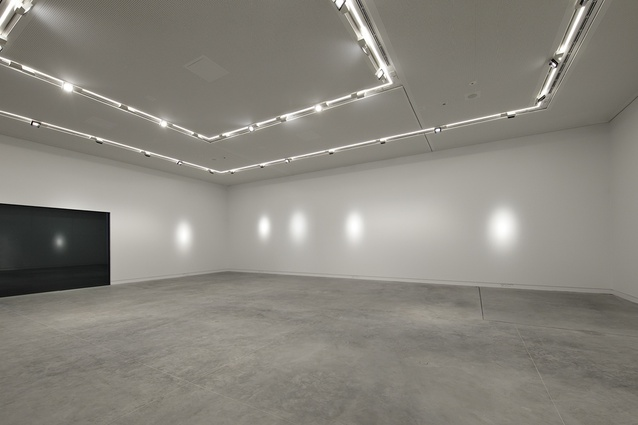 The white interior provides a flexible space for artists exhibiting their work.