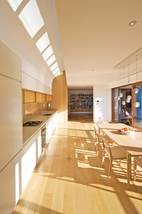 Timber gives warmth to the east-facing kitchen.