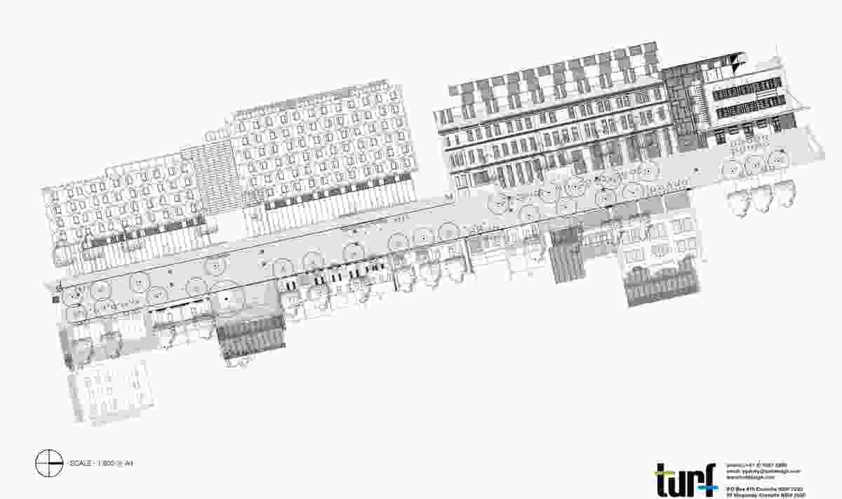 Kensington Street plan with building profiles.