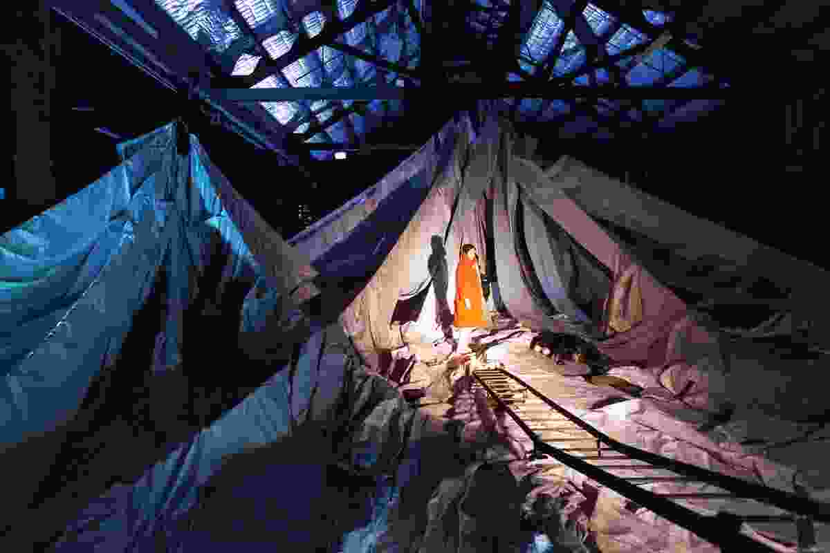The play's final scene is set in a mammoth paper installation called Everest by Carterwilliamson Architects with Archrival.