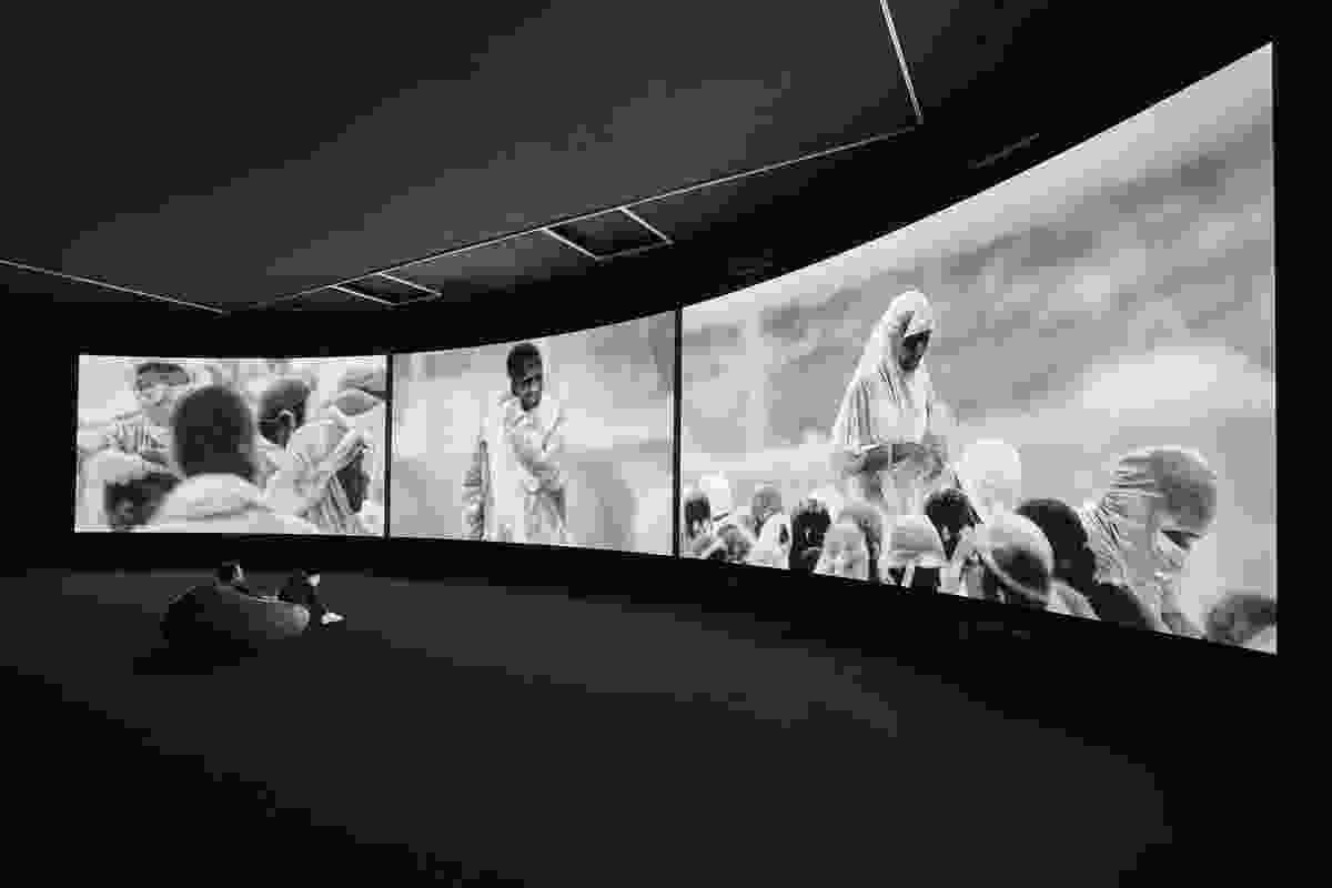 Installation view of Richard Mosse's Incoming 2015 – 2016 which is on display in NGV Triennial at NGV International, 2017.
